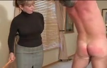 Blonde wife spanking her husband