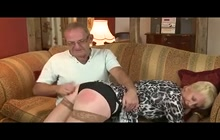 Old blonde slut spanked and banged! rough