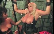 Dyke fetish action with big tit blonde