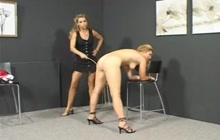 Cute blonde Claudia spanked by Kyra