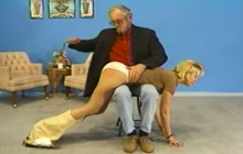 Old man spanking sexy blonde