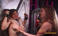 Busty Latex Mistress Punishes Tied Girl