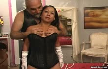 Asian bitch bondaged and spanked